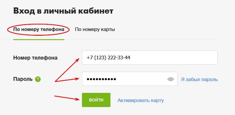 Номер телефона и пароль, указанные при активации